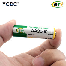 BTY Best Rechargeable Battery AA 3000 12 X BTY NI-MH 1.2V Rechargeable aa battery rechargeable batteries For RC Toys Camera MP3(China)