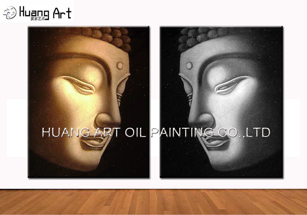 Profesionální malování Factory Supply Handmade Abstract Buddha Oil Painting for Wall and Hotel Decoration Side Face Buddha Painting
