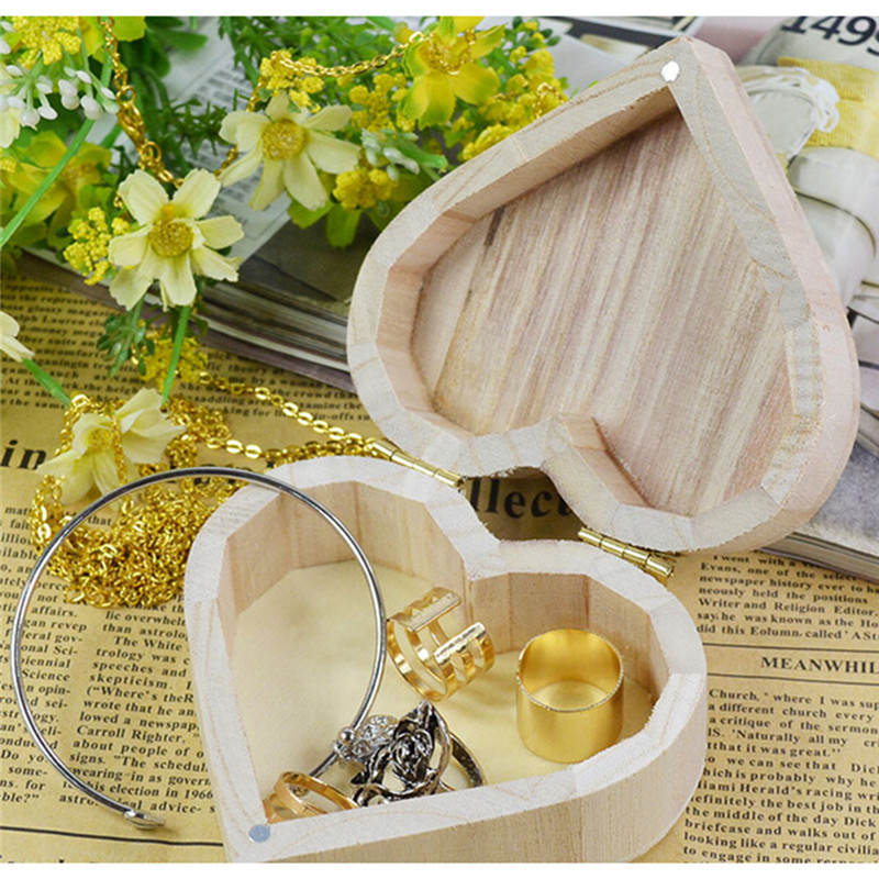 Storage Box Heart Shape Wood Box Jewelry Box Wedding Gift Makeup Cosmetic Earrings Ring Desk Rangement Make Up Wooden Organizer