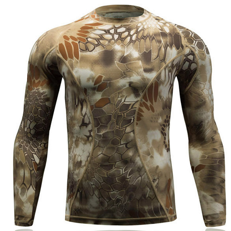 Camouflage snake pattern T-shirt Men tight fast drying thermal underwear tactical elastic long-sleeved suit training uniform casual round neck stripes pattern black long sleeves sweat dry tight t shirt for men