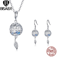 925 Sterling Silver Openwork Ball with Blue Cubic Zirconia Leaf Earrings and Necklace Jewelry Sets for Women 2019 NEW GUS104