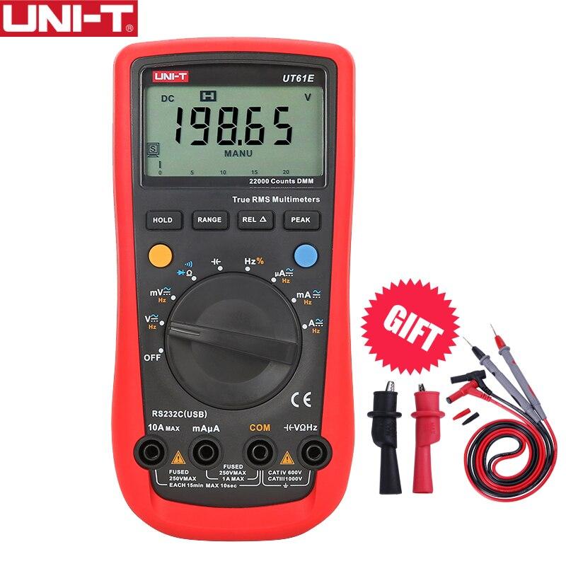 UNI-T ut61e multímetro digital ture rms faixa automática 22000 contagens pc conectar ac dc tensão medidor de corrente frequência testador elétrico