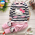 2017 cartoon 2 - 5 years old baby girls clothes pure cotton kids clothing suit coat + pants high quality pink gray green