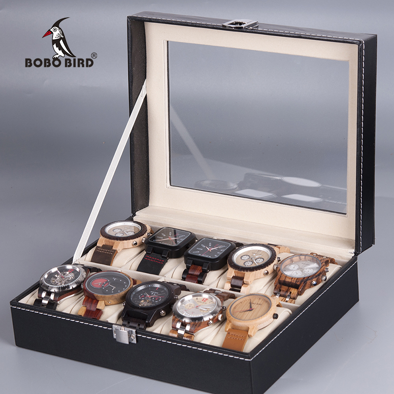 BOBO BIRD Watch Box Case 6 /10 Grids Watches Display Boxes Leatherette Organizer Jewelry Display Holder Cases caja relojBOBO BIRD Watch Box Case 6 /10 Grids Watches Display Boxes Leatherette Organizer Jewelry Display Holder Cases caja reloj