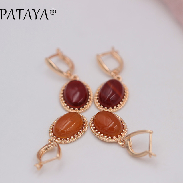 PATAYA Exclusive RU Hot Multicolor Oval Natural Stone Earrings 585 Rose Gold Drop Earrings Women Wedding Party Vintage Jewelry