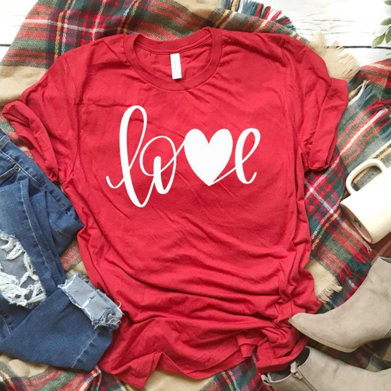 Valentines T-Shirt Women All You Need Is Love Tees XOXO T Shirt Unisex Valentines Day Shirt Women Causal Red Cotton Tshirt Drop