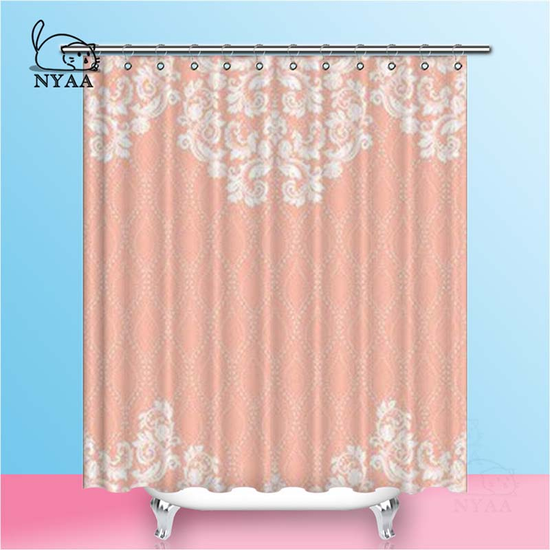Nyaa Lace Pattern Shower Curtains Eastern Style Waterproof