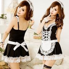 Sexy Maid Servant V-Neck Dress + Headband + Panties 3 Pieces Cosplay Sleepwear