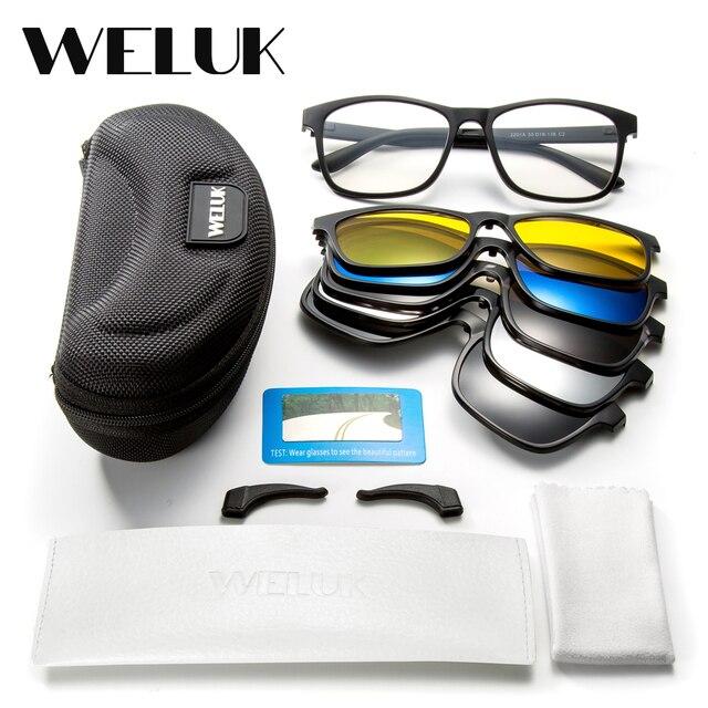 4062cb606fb6 WELUK 5 Lens Magnet Sunglasses Clip Men Night Driving Magnetic Mirrored Clip  on Sun Glasses Men Flip Myopia Eyeglasses
