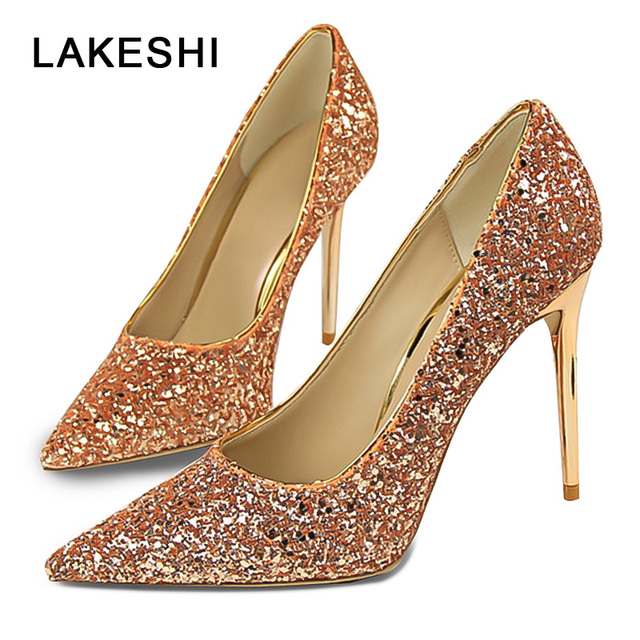 d5970a6fb1 US $8.94 60% OFF|Aliexpress.com : Buy LAKESHI Women Pumps Bling High Heels  Sexy Prom Wedding Shoes Women Shoes Pointed Toe Red Gold from Reliable ...