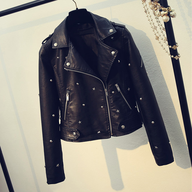 2019 Spring Autumn Washed Faux   Leather   Jacket Women Turn-down Collar Zipper Beading Caot Female Motorcycle   Leather   Jacket
