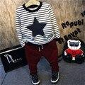 Conjunto de roupas meninos da criança crianças meninos listrada de manga comprida o pescoço boutique t camisa e calças de lã grossa crianças quentes roupas 2-7