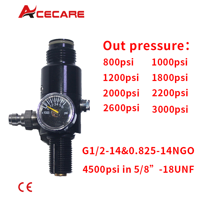 ACECARE New Paintball PCP HPA 4500psi Compressed Air Tank Regulator Output Pressure 800-2600psi Tank