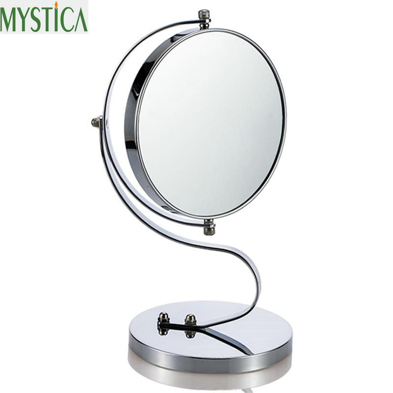 360 Desktop Beauty Makeup Cosmetic Mirror 7 Inch 3x Magnification Round Makeup Mirror Dual Sided Magnifying Stand Makeup Mirrors