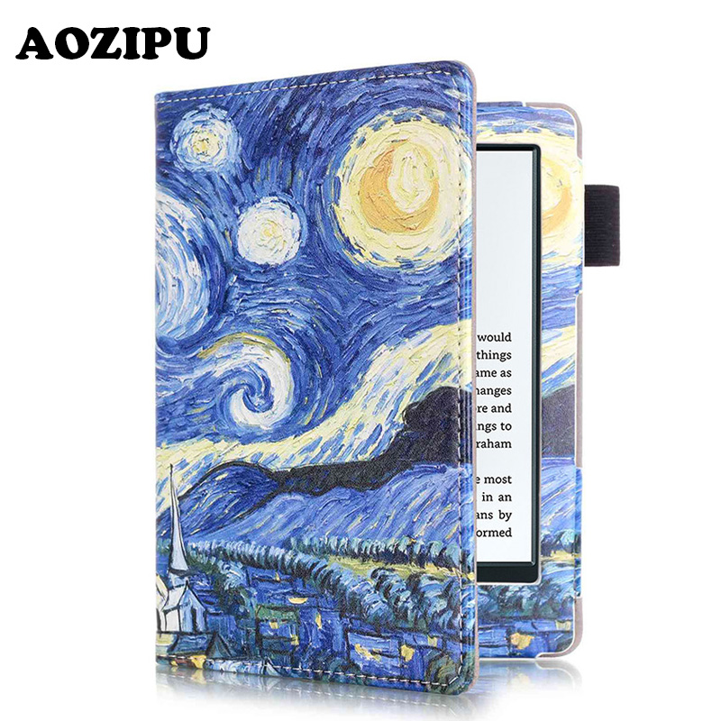 Smart Wake/Sleep Printed PU Leather Case for New Amazon Kindle 8th Generation 2016 Version 6inch eBook Tablet Cover +free gift
