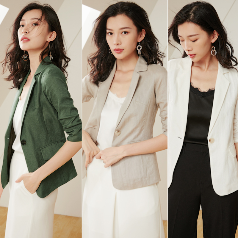 Linen small suit women's jacket thin section 2019 summer fashion temperament seven point sleeves Slim casual cotton suit jacket