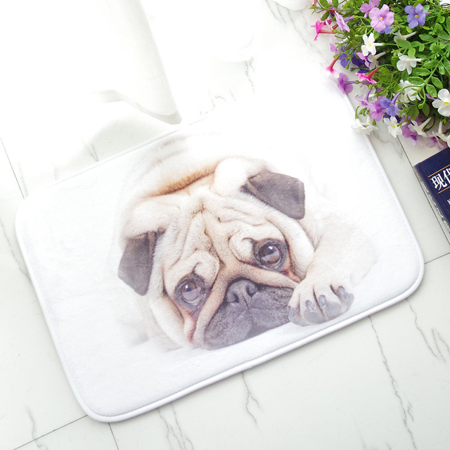 Pug Dog Bedroom Carpet Pad Water Uptake Non-slip Flannel Door Stepping Cartoon Kitchen Welcome : door stepping - Pezcame.Com