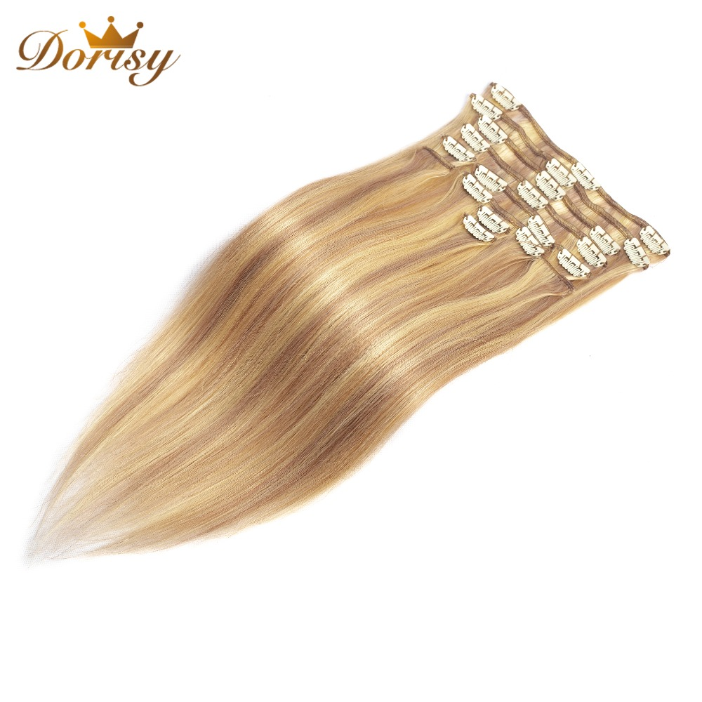 Clips In Human Hair Extensions P18/613 Human Hair Clip In Extensions 12Pieces/Set Full Head Sets 100g Brazilian Remy Hair Clips