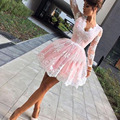 Sexy Long Sleeves Short Cocktail Dresses 2017 Pink Lace Applique Deep V-Neck Backless Mini Prom Dresses Tulle Party Dresses