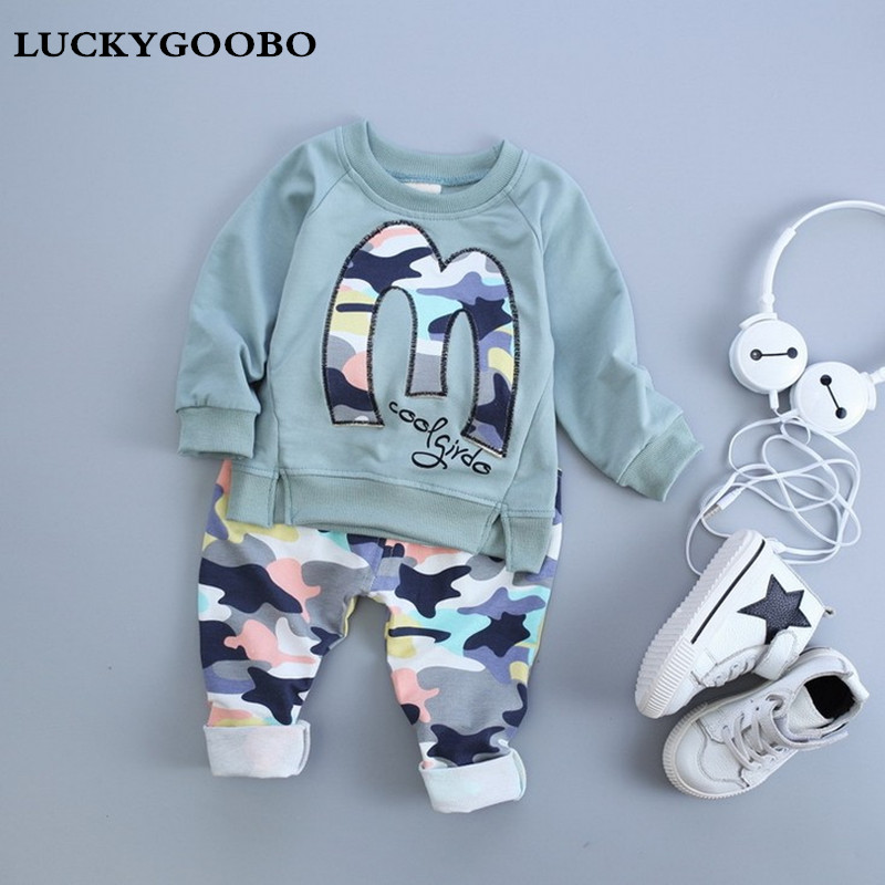 Kids Clothes 2017 New Spring Embroidery M Set Baby Boy Clothes Camouflage Children Clothing Full Length