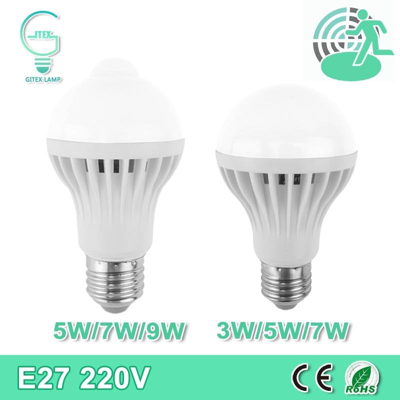 где купить LED PIR Motion Sensor Lamp 5W 7W 9W 220V LED E27 Bulb Auto Smart Infrared Body Sound + Motion Sensor Light 3W 5W 7W Lampada Bulb по лучшей цене