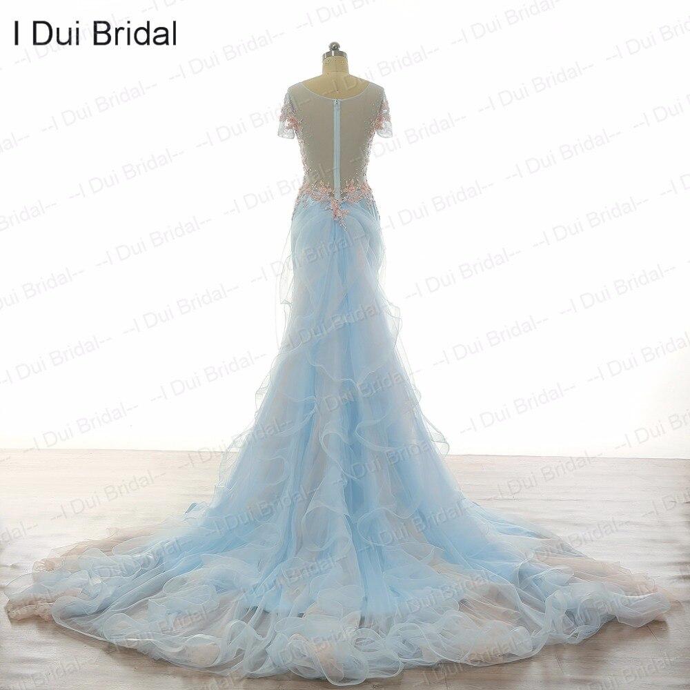 Azul claro Vestidos de novia desmontable ruffle tren de manga corta ...