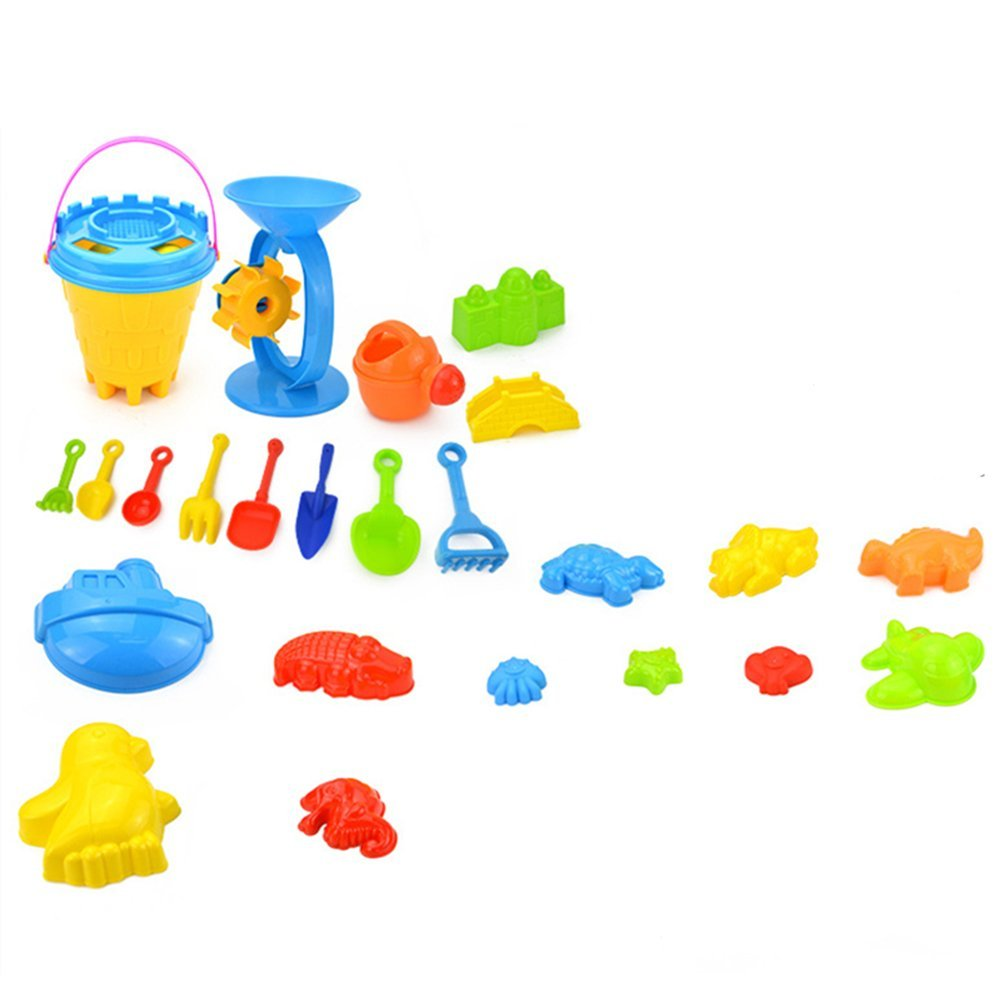 Set Of 25 Baby Kid Beach Toys With Castle Bucket Spade Shovel Rake Kettle Children Toys