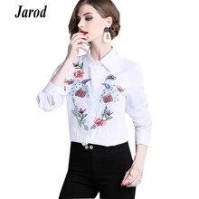 c966149983 2019 primavera manga larga camisa blanca elegante bordado de moda Floral  cuello blusa mujer de negocios