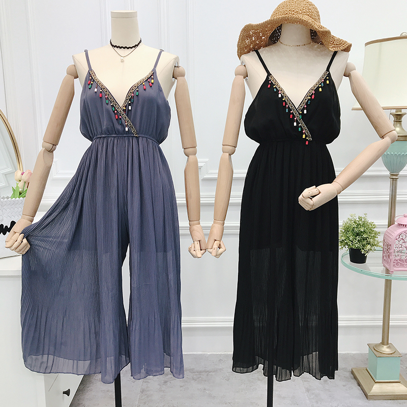 New Summer Slim V-Neck Loose Chiffon Jumpsuits Women Vintage Beading Wide Leg Pants Slim High Waist Party Ladies Jumpsuit Mw307