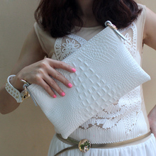 Envelope Evening Clutch Bags White Crocodile Pattern Genuine Leather Women Shoulder Bags Crossbody Purses and Handbag Lady