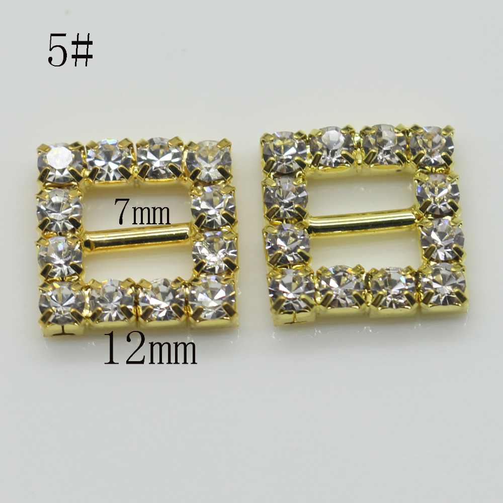 Shiny Square 10pc golden Rhinestone Buckle Diamante Ribbon Slider Wedding  Invitation card Decoration buckles metal crystal-in Buckles   Hooks from  Home ... cfacad4ff311