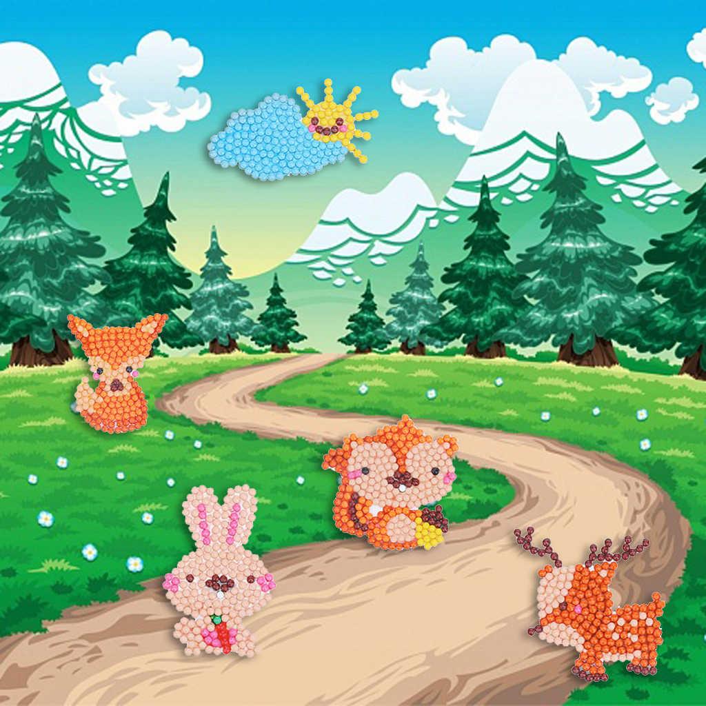 Anak-anak Baru Penuh Bor Diamond Lukisan Bordir Kartun Hewan Hutan Stiker Diseduh Sendiri Buatan Tangan Tas Kreatif Anak Hadiah