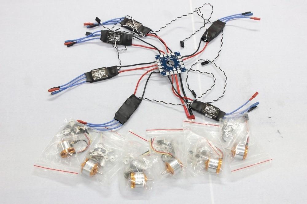 F04997-A JMT Assembled Kit: 30A ESC + Motor + KK ESC Connection Board Connectors Dean T Plug Wire for 6-Aix Drone Hexacopter FS