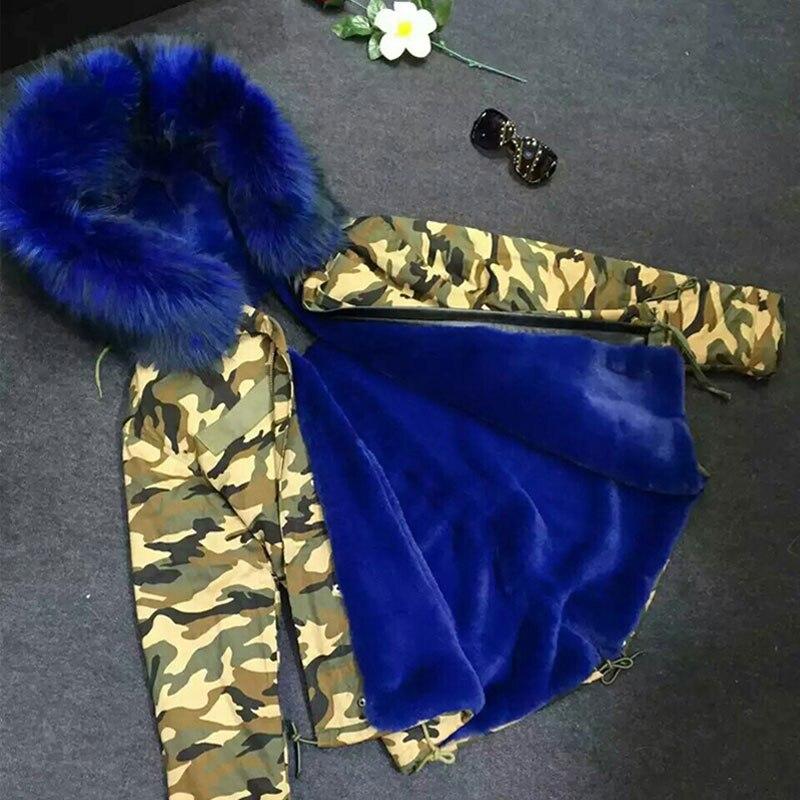 Hiver Nouvelles Fourrure Laveur Raton Foncé De Parka Sexy Camouflage Manteaux Femmes Bleu Col Coquille 7gIYfybv6