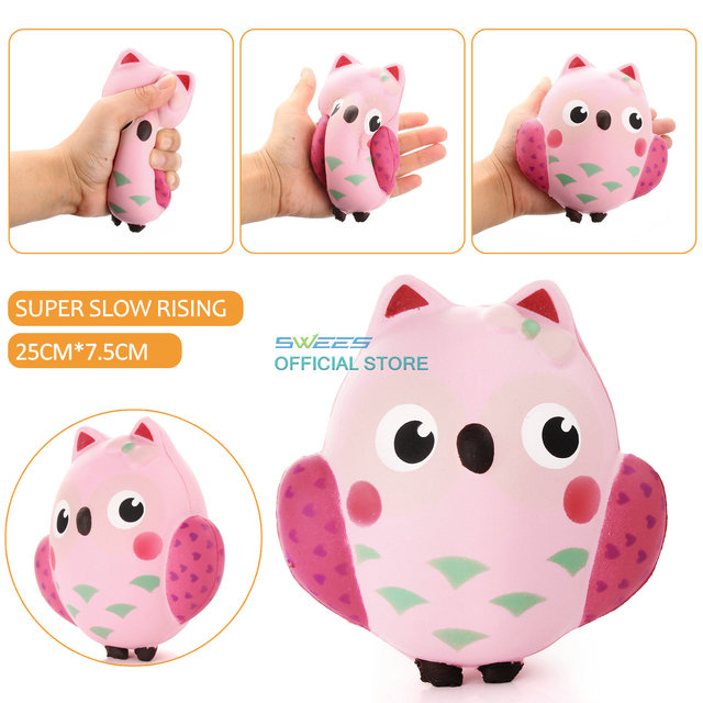 2017 NewArrival 14CM Squishy Kawaii Cute Pink Owl PU Soft Slow Rising Phone Strap Squeeze Break Kid Toy Relieve Anxiety Fun Gift