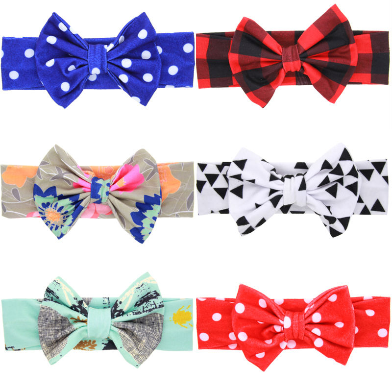 1PC Fashion Girls Bow Knot Headband Bowknot Flower Soft Christmas Cotton Headdress Hairband Hair Band Accessories 1 pc women fashion elastic stretch plain rabbit bow style hair band headband turban hairband hair accessories