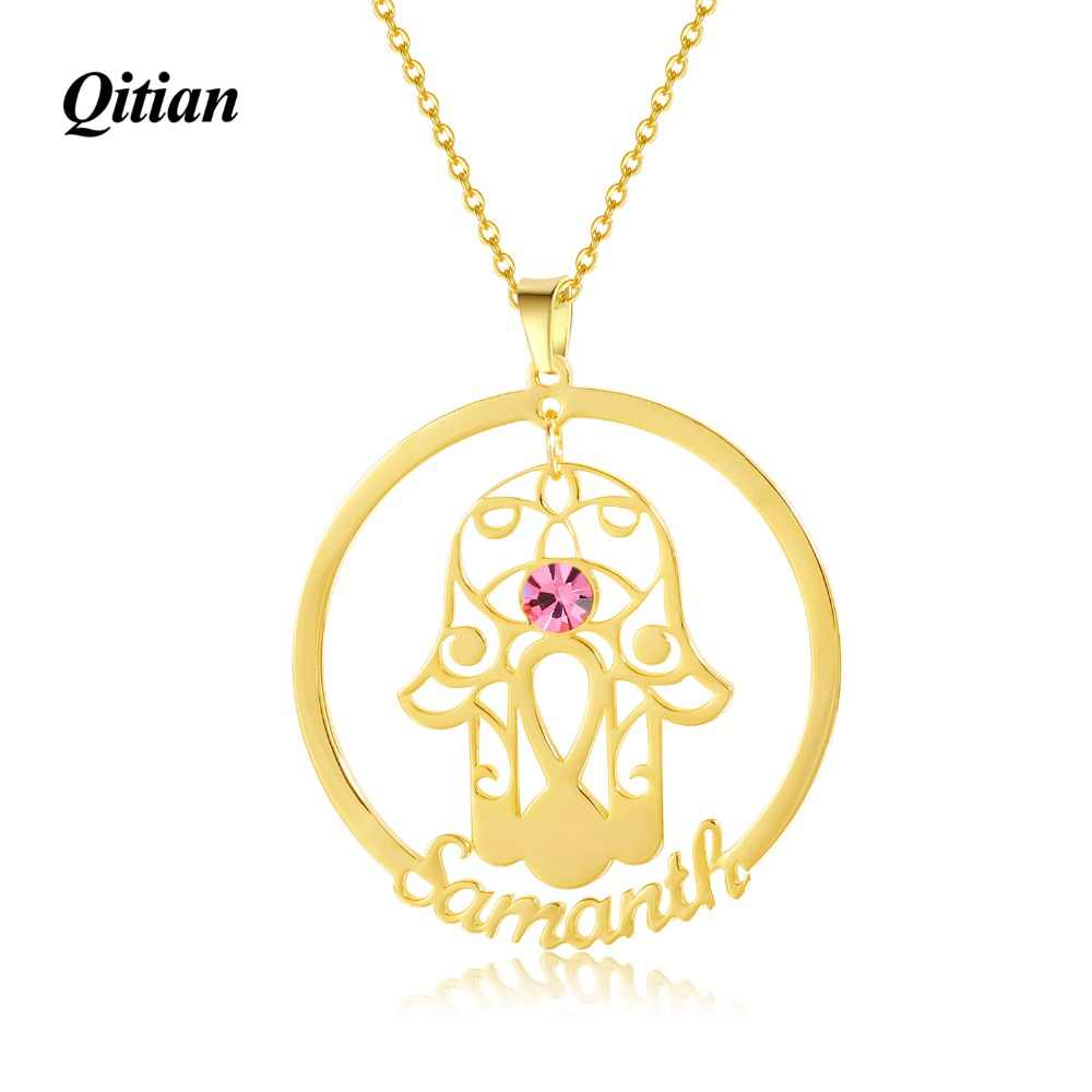 Hams Fatima Hand Necklace Stainless Steel Hollow Hand  Necklace Pendant For Women Gold Hand of Fatima Choker Necklace Amulet