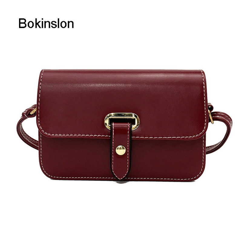 Bokinslon Handbgs Bags Fashion Woman Retro PU Leather Female Mini Bags Solid Color Lock Buckle Women Crossbody Bags retro women s crossbody bag with solid color and buckle design