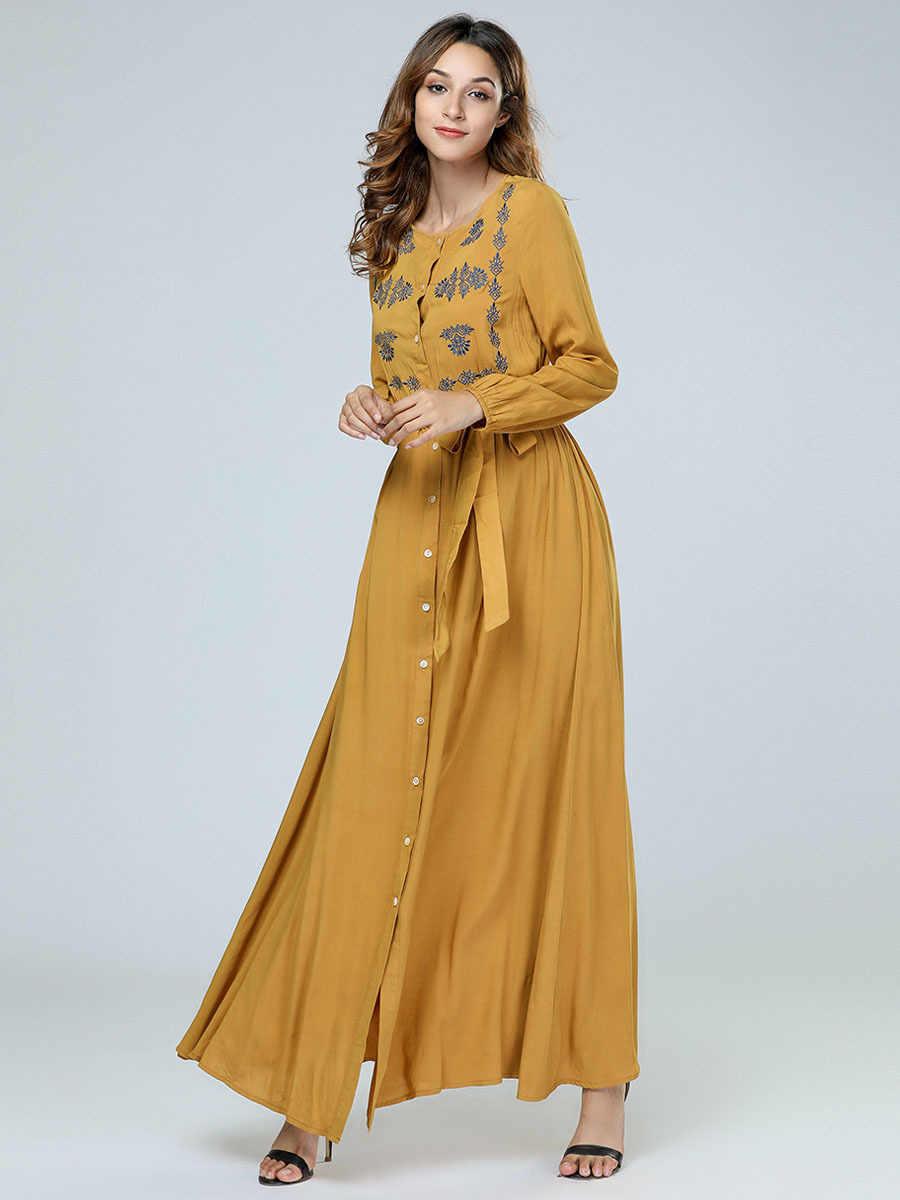 Одежда из Дубая для Для женщин желтый мусульманское платье кафтан в турецком, арабском стиле исламской Костюмы с длинным рукавом Бангладеш халат с поясом платья