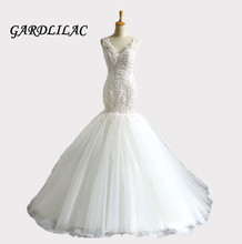 2019 White Mermaid Wedding dress Spaghetti Straps V Neck Appliques Bridal Dress Robe de marie Vestidos Noiva