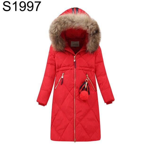 2017 Зимние пуховики для девочек большая девочка длинные Паттен Перо утепленное пальто теплое пальто верхняя одежда меховой воротник парка с капюшоном пальто