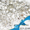 Al por mayor! ss3-ss40 Crystal decoraciones piedras del Hotfix Posterior Plana de los rhinestones para uñas Pegamento en 3d del arte del clavo de diy