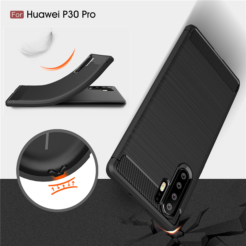For Huawei P20 P30 Pro Case Brushed Carbon Fiber Soft TPU Rugged Back Cover For Mate 20 Lite Nova 3 4 3I P Smart Plus Coque