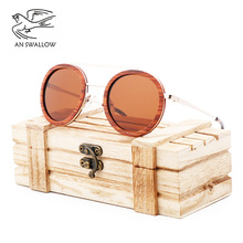 AN SWALLOW Classic Fashion Trend New Red Wooden Sunglasses Metal Men and Womens Toad Mirror