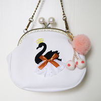 New Arrival Embroidery Swan Pearl Imperial Crown Diamonds Bow Frame PU Handmade Fur Ball Women Messenger Crossbody Shoulder Bag