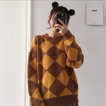 Otoño e Invierno versión coreana de suéter holgado a cuadros retro salvaje