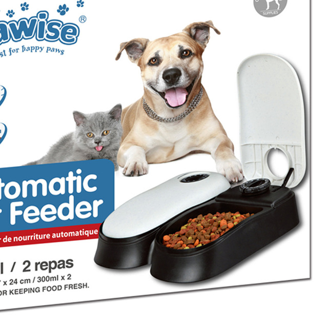 48 Hours Auto Dog Food Dispenser Timer Cat Feeder Dog Bowl #0: 48 Hours Auto Dog Food Dispenser Timer Cat Feeder Dog Bowl applicable for Wet Food 300mlx2 640x640