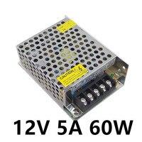 50 шт. светодиодный Питание 12 В 5A 60 Вт светодиодный драйвер Питание коммутации полосы 3528 5050 освещения для трансформаторов DC 12 В