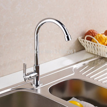 Free Shipping Cold Water Only Faucet Chrome Finish Single Handle Wall Mounted Kitchen Faucet Cold Water Brass Kitchen Taps 8301L