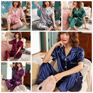 Image 3 - נשים משי פיג מה סאטן פיג מה סטי הלבשת קצר שרוול למעלה + מכנסיים ארוכים בגדי בית Pyjama לילה חליפה